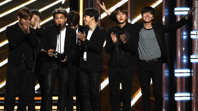 K-pop group BTS accepts Top Social Artist onstage during the 2017 Billboard Music Awards at T-Mobile Arena on May 21, 2017 in Las Vegas, Nevada.