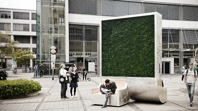 """The """"CityTree"""" has the same environmental impact of up to 275 normal urban trees. Using moss cultures that have large surface leaf areas, it captures and filters toxic pollutants from the air."""
