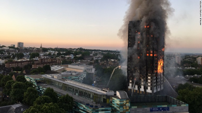 The Grenfell Tower fire at dawn on Wednesday.