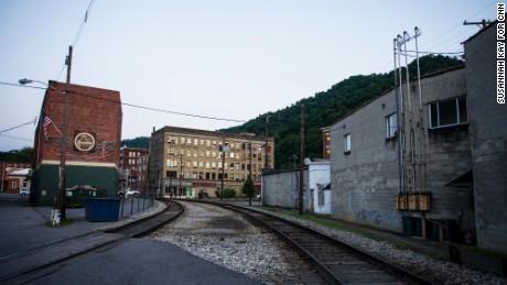 A railroad that runs through the town of Logan, West Virginia.