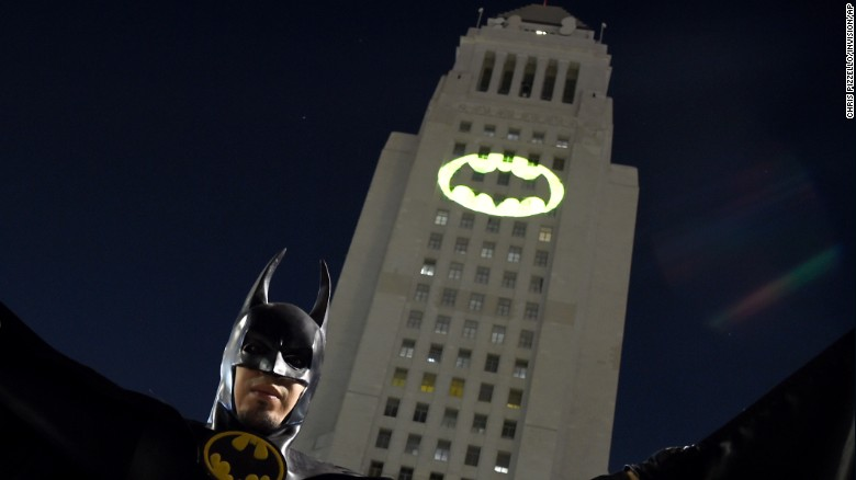 Image result for Los Angeles lights Bat-signal for Adam West