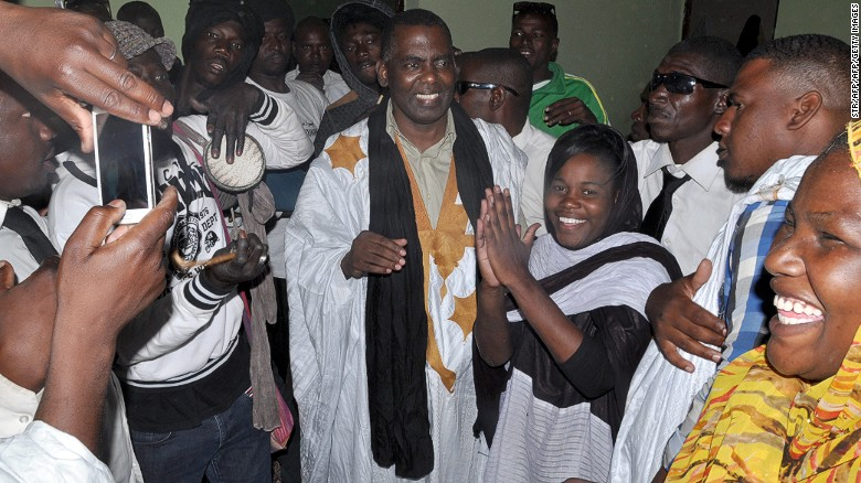 Abeid is welcomed by supporters as he leaves jail on May 17, 2016, after Mauritania's supreme court downgraded the crimes he was convicted of and ordered his release.