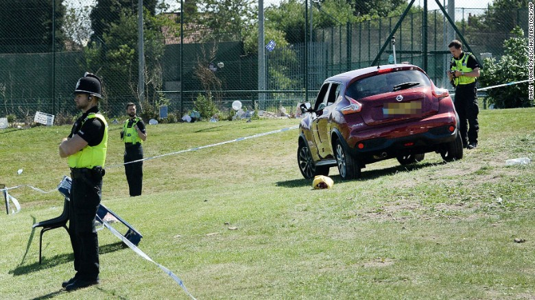 Police gather evidence at the scene of a car crash near Westgate Sports Centre in Newcastle.