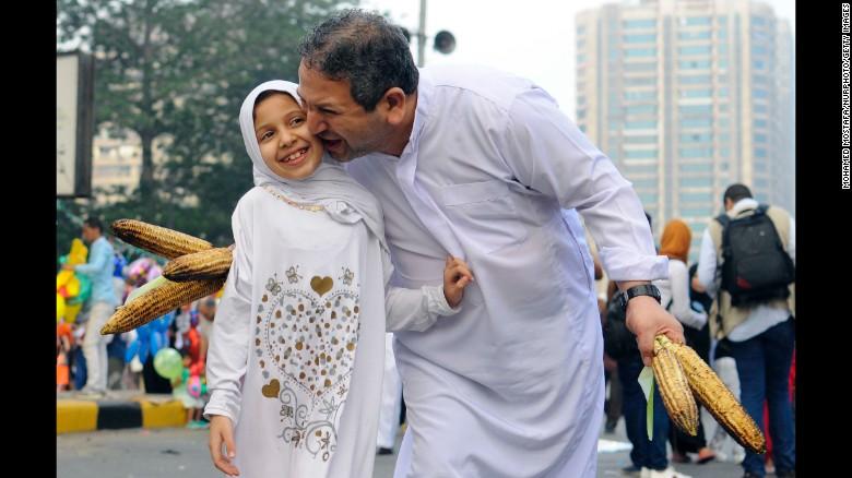 Muslims celebrate Eid al-Fitr in Mostafa Mahmoud Mosque Giza, Egypt.