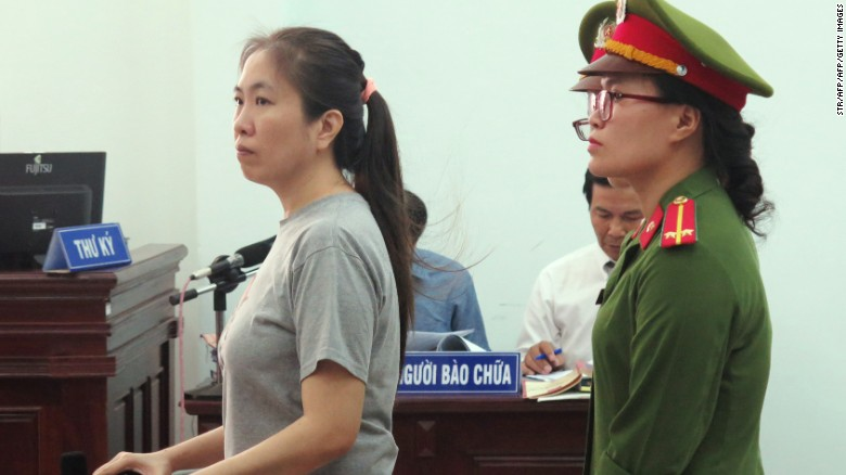 "Vietnamese blogger Nguyen Ngoc Nhu Quynh, also known as ""Mother Mushroom,"" stands trial at a courthouse in Nha Trang on June 29, 2017."