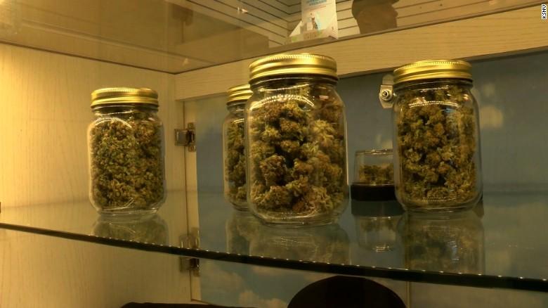 Display at a dispensary in Las Vegas as recreational marijuana goes on sale