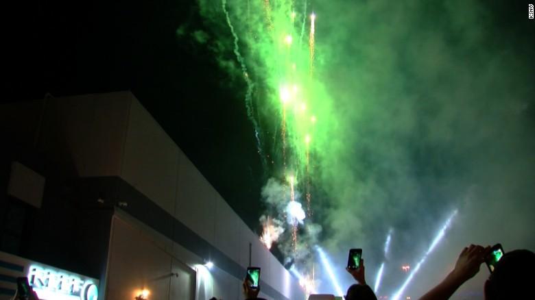 Fireworks in Las Vegas celebrate the opening of recreational marijuana sales in Nevada