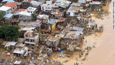 Houses destroyed by flooding brought by typhoon Ketsana, also known as tropical storm Ondoy, in Marikina City, Philippines in 2009.