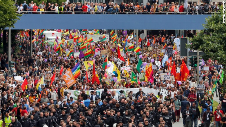 Protesters flood streets of Hamburg as G20 wraps up