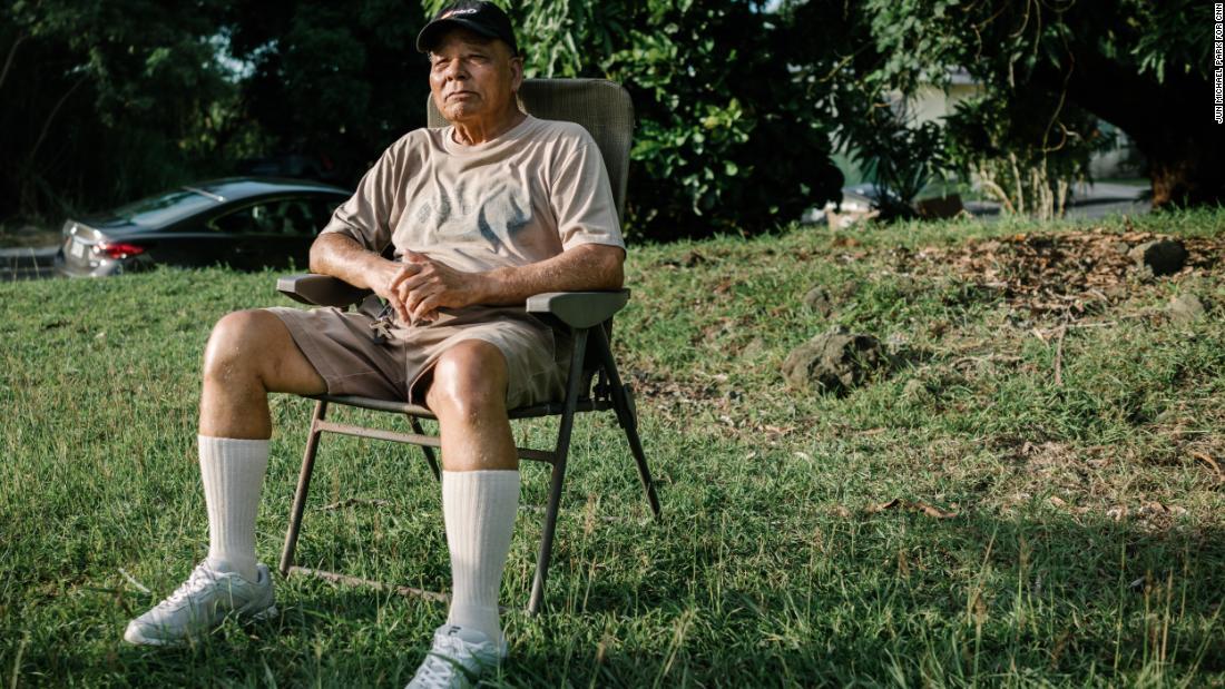 Domingo Santos, 85, at his home in Guam, August 11.