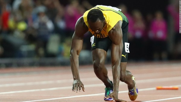 170812221659 bolt falls super 169 - Agony for Usain Bolt as he pulls up injured in track farewell