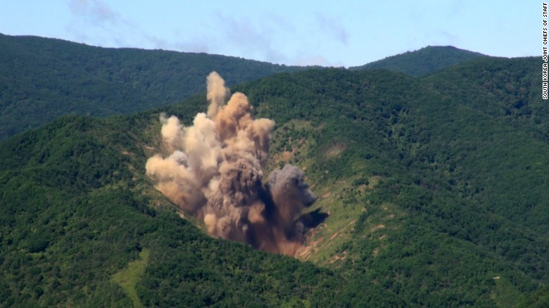 An explosion in northeastern South Korea after fighter jets drop MK 84 bombs as part of a live-fire drill Tuesday morning.