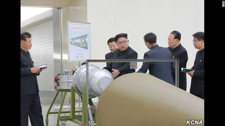 Kim Jong Un visits the country's Nuclear Weapons Institute in a photo released Sunday by KCNA.