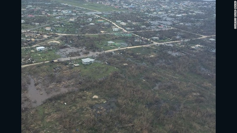 An aerial image over Barbuda on Thursday shows the devastation from Hurricane Irma.