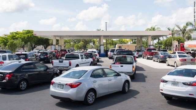 Drivers wait in line for gas Thursday in Miami as they prepare for Hurricane Irma.