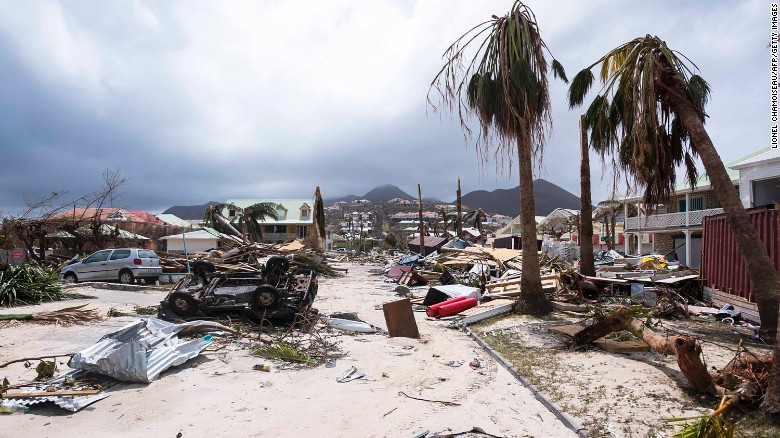 Damage caused by in Orient Bay on Saint-Martin.