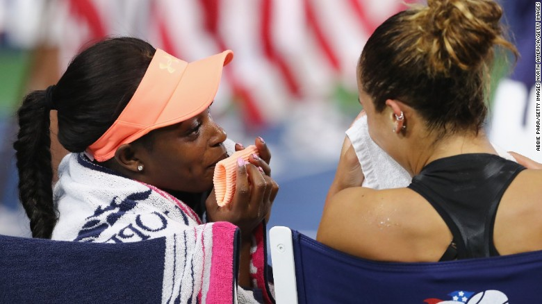 Stephens with Madison Keys after the match.