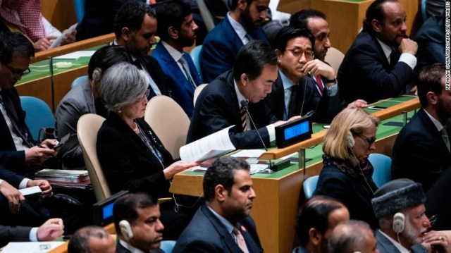 Delegates from South Korea at the UN on Tuesday.