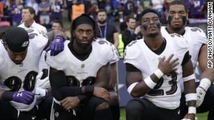 Ravens, Jaguars kneel during national anthem