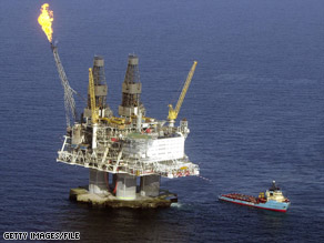 If President Bush persuades Congress to lift the ban, oil rigs like this one off Canada will appear off U.S. shores.