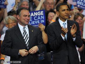 Virginia Gov. Tim Kaine, left, is Sen. Obama's national campaign co-chairman.