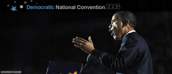 Barack Obama accepting the Democratic Partys nomination for President (CNN)