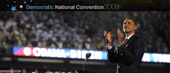 Barack Obama accepting the Democratic Presidential Nomination