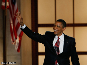 Barack Obama greets the crowd at the Democratic National Convention. (CNN)