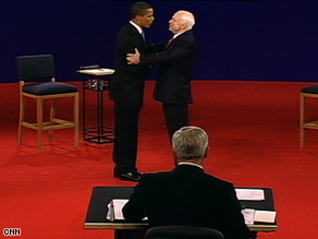 Sens. Barack Obama and John McCain meet for their second presidential debate.