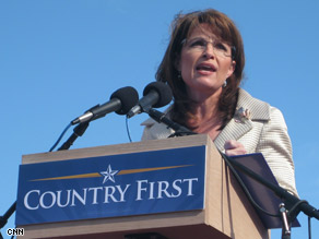 Alaska Gov. Sarah Palin campaigns in Lancaster, Pennsylvania, Saturday.