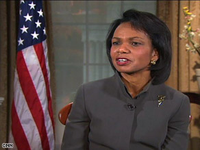 Secretary of State Condoleezza Rice in an interview with CNN's Zain Verjee earlier this week.