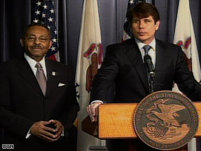 Illinois Gov. Rod Blagojevich, right, named Roland Burris to fill President-elect Barack Obama's Senate seat.