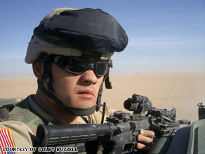Colby Buzzell, Serving his Country. Apparently getting shot at defending his country was not enough to let him enjoy the right to free speech. Cuz he did not much care for the Iraq war.