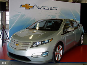 GM reveals its first electric car, the Chevy Volt.