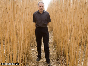 Stephen Long amid Miscanthus stalks found to outperform other biofuel sources.