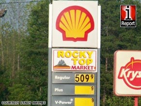 iReporter Stacy Haynes said this Harriman, Tennessee, station was selling regular gas at $5.09 a gallon Saturday.