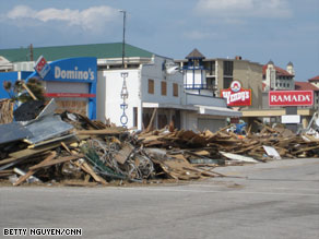 Debris from Hurricane Ike is piled against storefronts in Galveston, Texas, on Monday.