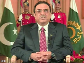 "Pakistani President Asif Ali Zardari says he believes the Mumbai attackers were ""stateless actors."""