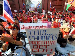 Backers of former premier Thaksin Shinawatra protest at Parliament in Bangkok on Monday.