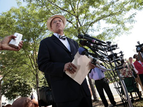 Bobby G. Henry Jr., attorney for the family of inmate Ronnie L. White speaks to reporters outside the Prince George County Courthouse, Tuesday.