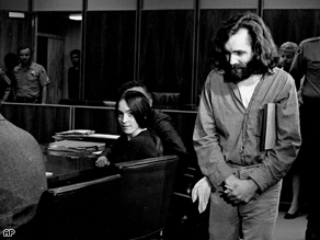 Susan Atkins and Charles Manson in a Santa Monica courtroom Oct, 1970.