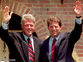 Clinton and Gore benefited by the country's poor economic conditions in 1992.