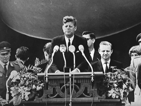US President John F. Kennedy delivers his famous speech ''I am a Berliner'' (''ich bin ein Berliner'' ) in front of the city hall in West Berlin concerning the Berlin Wall, June 26, 1963.