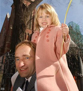 In this undated photo provided by the FBI, Clark Rockefeller carries his daughter Reigh on his shoulders. Authorities say Rockefeller, who is going through a bitter divorce with his wife Sandra Boss, snatched 7-year-old Reigh in Boston on Sunday, July 27, 2008 and may be trying to flee on a yacht from Long Island