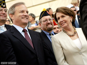Nancy Pelosi and Chet Edwards held a news conference in June about funding for veterans.