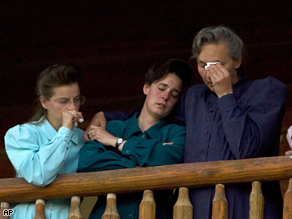 FLDS women at the Yearning for Zion Ranch in Eldorado, Texas, reacting to the removal of more than 400 children in April.