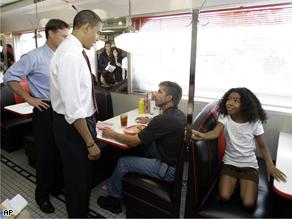 Obama at Schoop's diner in Portage, Ind., Wednesday.