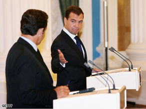 President Nicolas Sarkozy of France and President Dmitry Medvedev of Russia hold a joint press conference Tuesday, in Moscow, Russia.