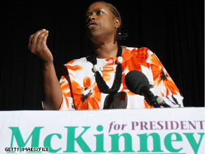 Cynthia McKinney is criticizing Democrats on Iraq funding.