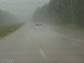 The view from Randi Kaye's windshield as she drives through Gustav to reach Baton Rouge.